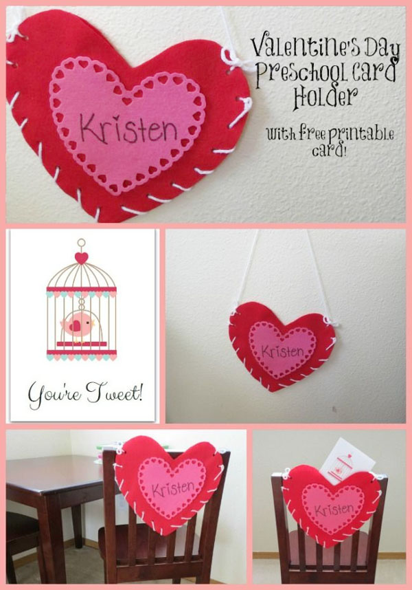 Valentine Card Holder Craft | Featured in 25+ Awesome Valentine Class Party Ideas Roundup {OneCreativeMommy.com}