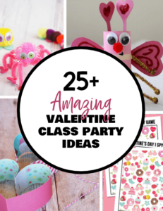 In charge of the Valentine class party this year? Check out 25+ ideas to get you started with games, crafts, printables and more! {OneCreativeMommy.com} #valentinesday #valentinegames #classparty