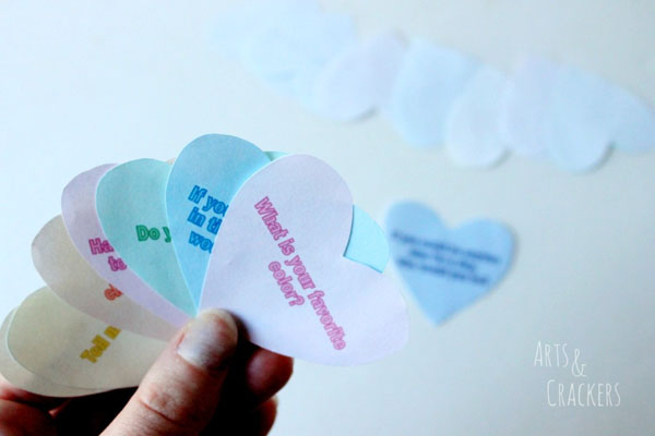 Valentine Conversation Hearts Game | Featured in 25+ Awesome Valentine Class Party Ideas Roundup {OneCreativeMommy.com}