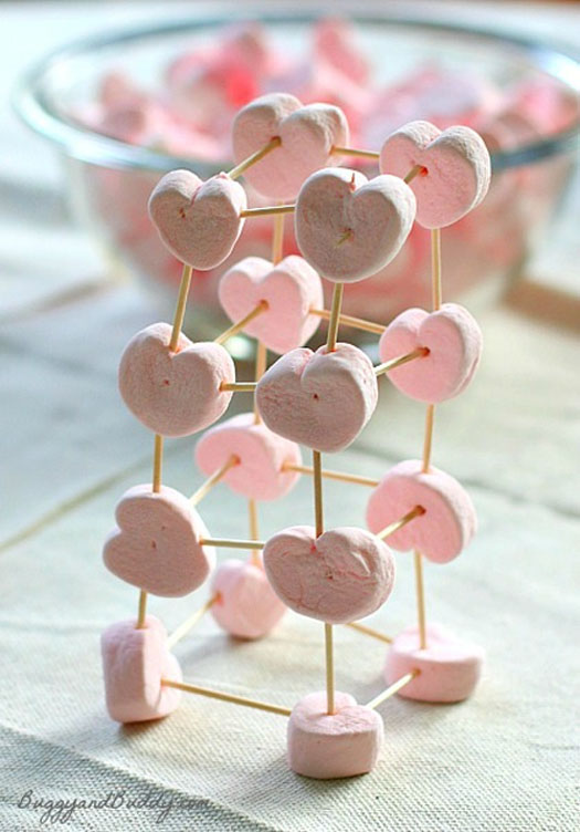 Marshmallow Toothpick Heart Structures Craft | Featured in 25+ Awesome Valentine Class Party Ideas Roundup {OneCreativeMommy.com}