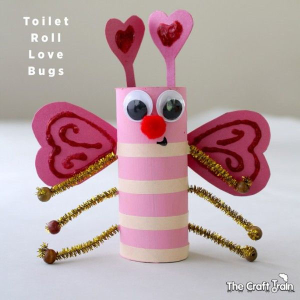Toilet Roll Love Bugs Craft | Featured in 25+ Awesome Valentine Class Party Ideas Roundup {OneCreativeMommy.com}
