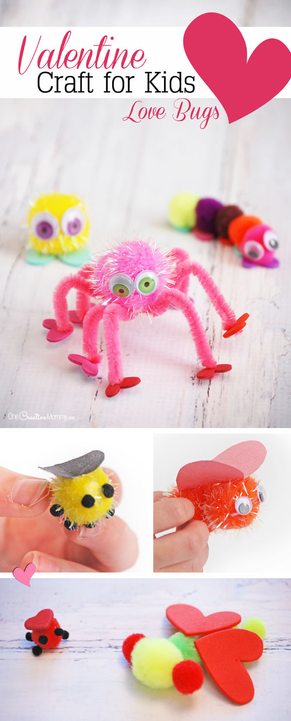 Valentine love bug craft - My Kids Love This Simple Valentine Craft Idea Pom Poms And Heart Shapes Become Adorable