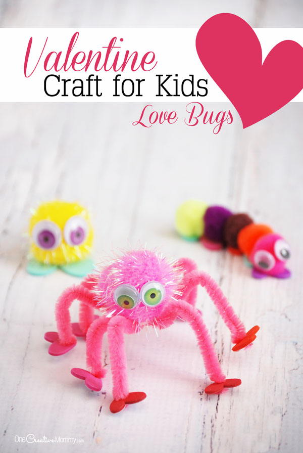 My kids LOVE this simple Valentine craft idea! Pom poms and heart shapes become adorable bugs with a Valentine twist! {OneCreativeMommy.com}