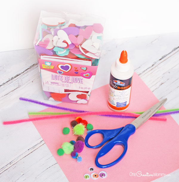 Valentine Craft Materials {OneCreativeMommy.com}