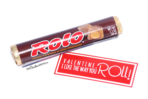 I like the way you roll, Valentine! Free printable Valentines for Rolos candy. {OneCreativeMommy.com}