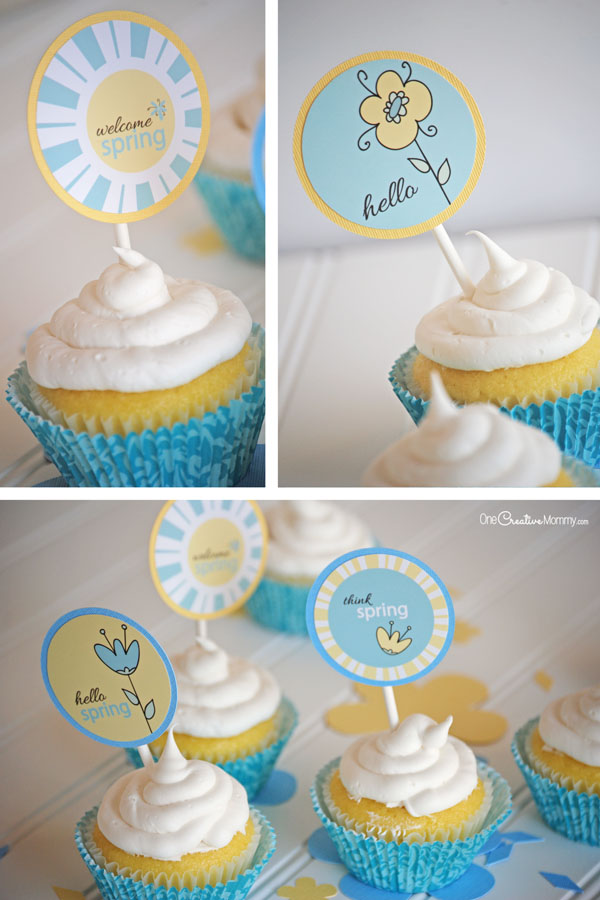Welcome Spring with these adorable Spring Cupcake Picks! {OneCreativeMommy.com}
