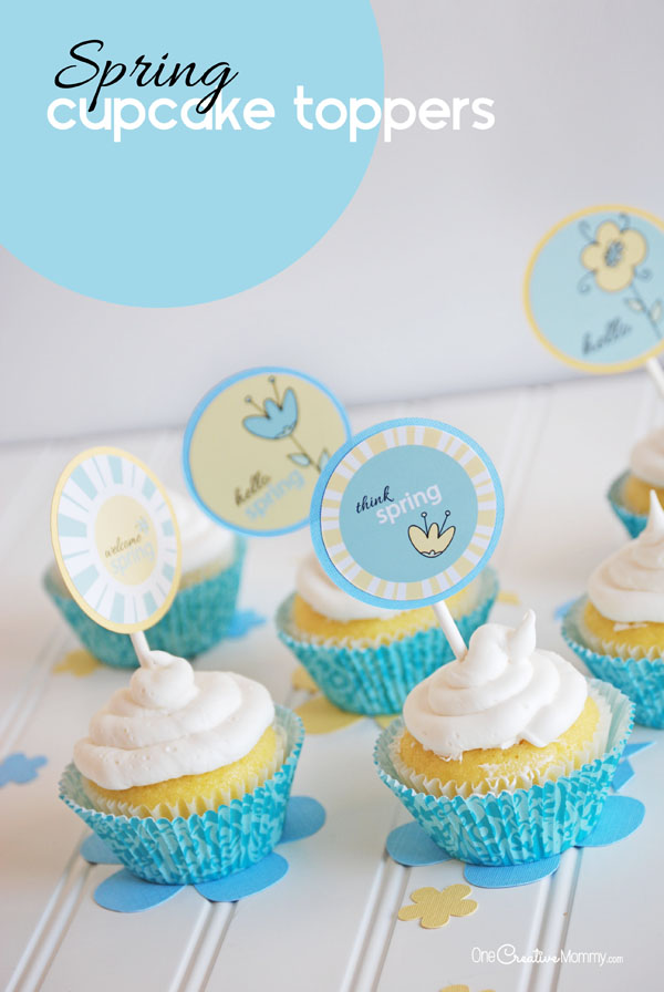 Welcome Spring with these adorable Spring Cupcake Picks! {OneCreativeMommy.com} 4 Designs