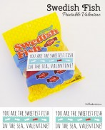 Quick and easy printable Valentine idea for Swedish Fish -- You are the sweetest fish in the sea, Valentine! {OneCreativeMommy.com}