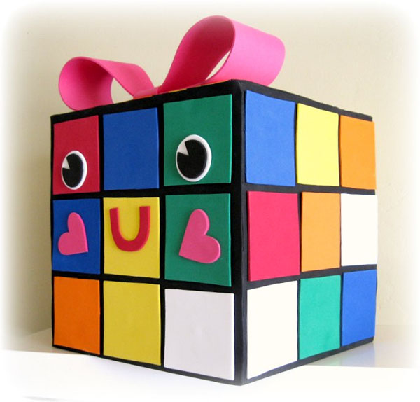 Rubix Cube Valentine Box | Featured with 25 Awesome Valentine Box Ideas to Rock the Class Party! {OneCreativeMommy.com}