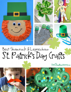 Best Shamrock Crafts and Leprechaun Crafts for St. Patrick's Day! {OneCreativeMommy.com} Kids Crafts