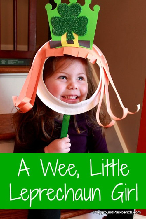 Leprechaun Girl Paper Plate Mask Craft | Featured in the Best St. Patrick's Day Crafts for Kids Roundup!{OneCreativeMommy.com}