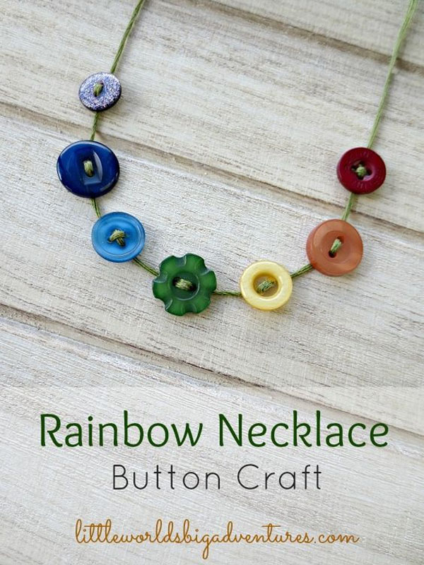Rainbow Button Necklaces | Featured in the Best St. Patrick's Day Crafts for Kids Roundup!{OneCreativeMommy.com}