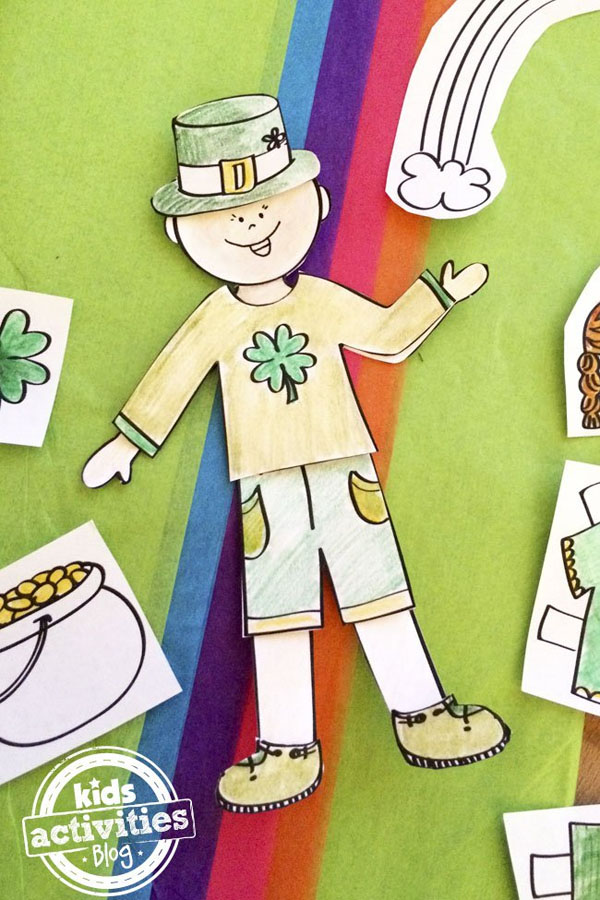 Leprechaun Paper Doll Printables | Featured in the Best St. Patrick's Day Crafts for Kids Roundup!{OneCreativeMommy.com}