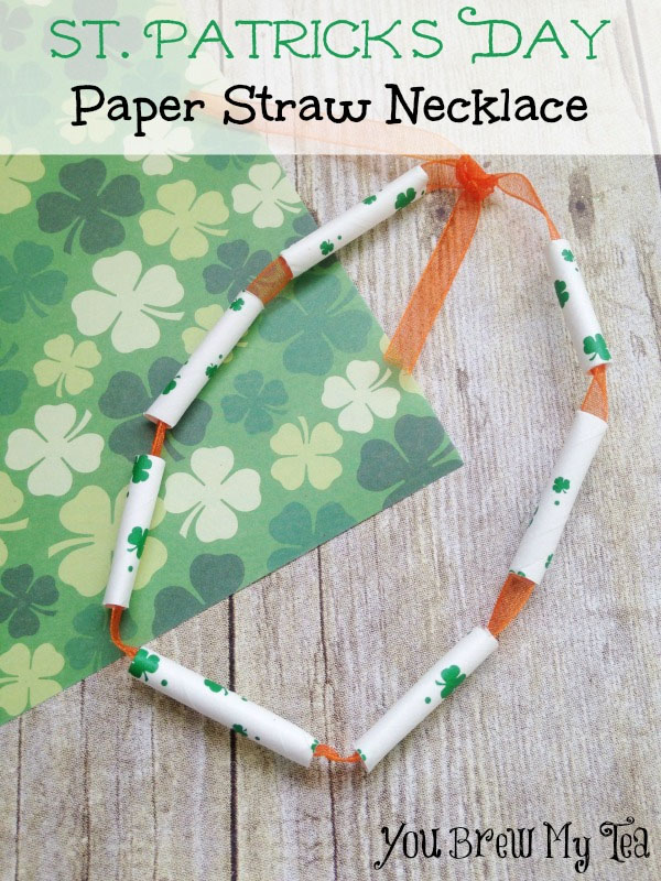Lucky Paper Straw Necklaces | Featured in the Best St. Patrick's Day Crafts for Kids Roundup!{OneCreativeMommy.com}