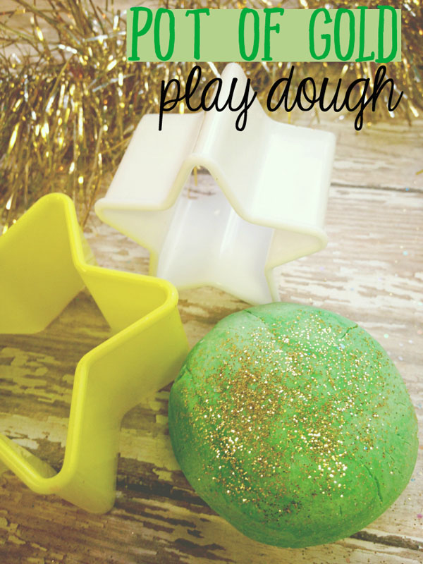 Pot of Gold Play Dough | Featured in the Best St. Patrick's Day Crafts for Kids Roundup!{OneCreativeMommy.com}