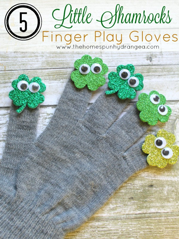 Shamrock Finger Play Gloves | Featured in the Best St. Patrick's Day Crafts for Kids Roundup!{OneCreativeMommy.com}