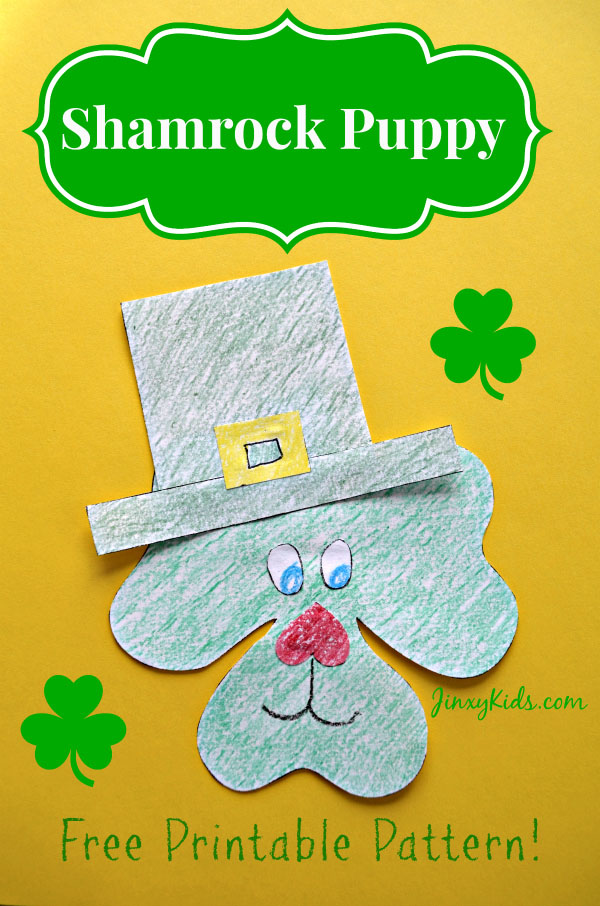 Shamrock Puppy Craft & Printable | Featured in the Best St. Patrick's Day Crafts for Kids Roundup!{OneCreativeMommy.com}