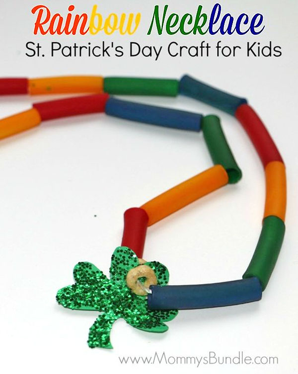 Macaroni Rainbow Necklaces | Featured in the Best St. Patrick's Day Crafts for Kids Roundup!{OneCreativeMommy.com}