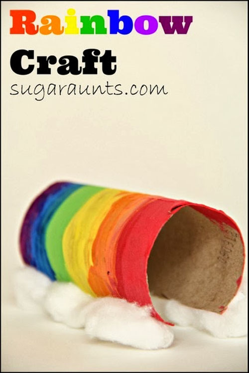 Paper Tube Rainbow Craft | Featured in the Best St. Patrick's Day Crafts for Kids Roundup!{OneCreativeMommy.com}