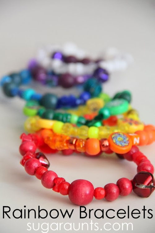 Rainbow Bead Bracelets | Featured in the Best St. Patrick's Day Crafts for Kids Roundup!{OneCreativeMommy.com}