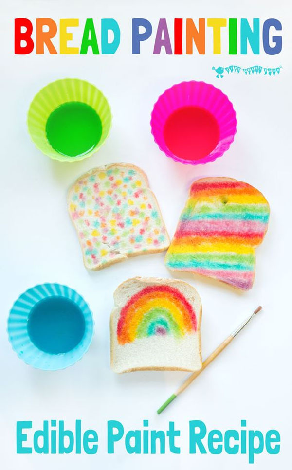Rainbow Bread Edible Paint! | Featured in the Best St. Patrick's Day Crafts for Kids Roundup!{OneCreativeMommy.com}
