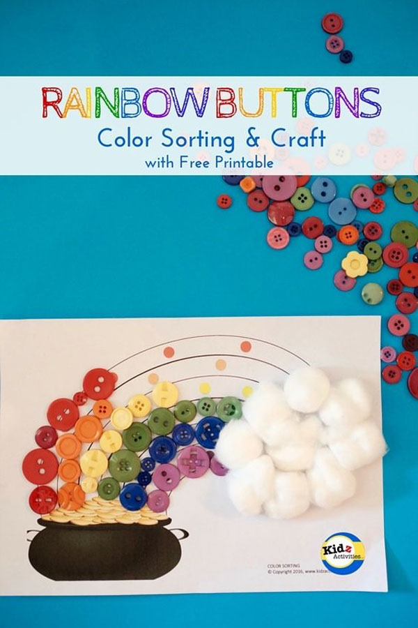 Rainbow Button Sorting Craft and Activity | Featured in the Best St. Patrick's Day Crafts for Kids Roundup!{OneCreativeMommy.com}