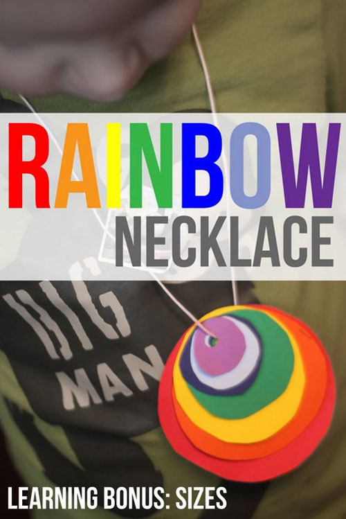 Rainbow Necklace Craft and Shape Sorting Activity | Featured in the Best St. Patrick's Day Crafts for Kids Roundup!{OneCreativeMommy.com}