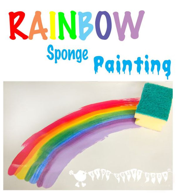 Rainbow Sponge Painting | Featured in the Best St. Patrick's Day Crafts for Kids Roundup!{OneCreativeMommy.com}