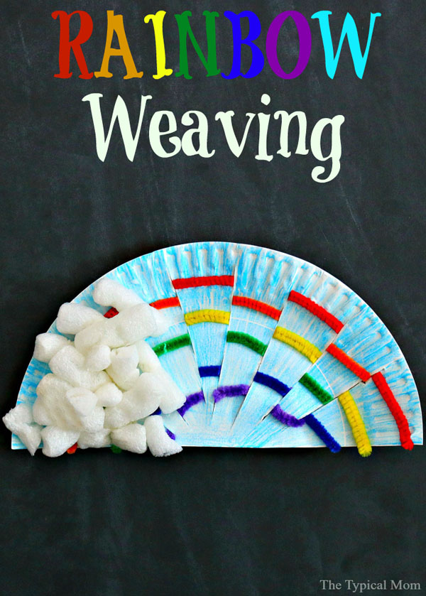 Paper Plate Rainbow Weaving | Featured in the Best St. Patrick's Day Crafts for Kids Roundup!{OneCreativeMommy.com}