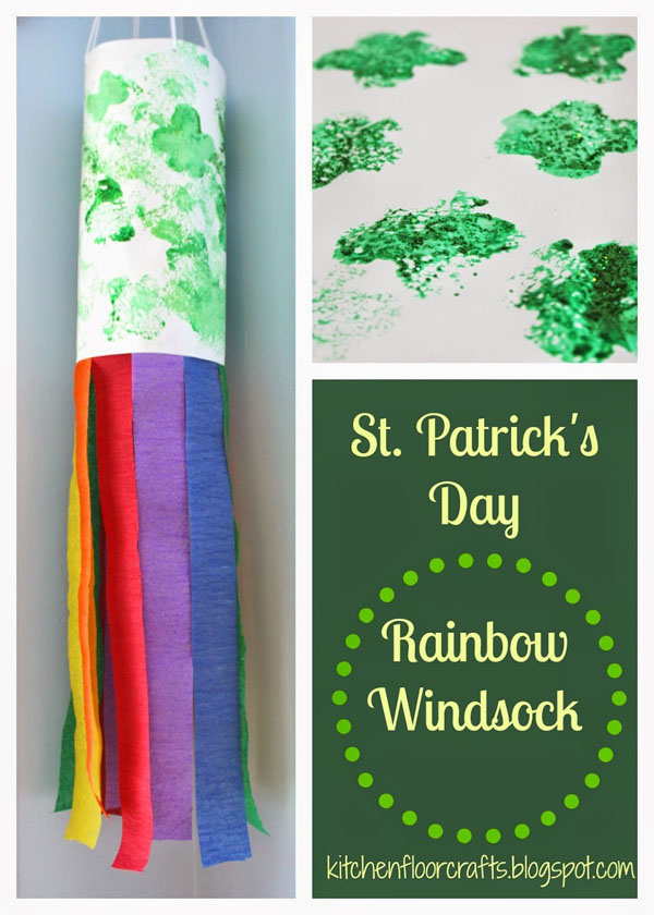 Rainbow Wind Sock | Featured in the Best St. Patrick's Day Crafts for Kids Roundup!{OneCreativeMommy.com}