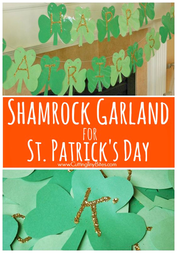 Shamrock Garland | Featured in the Best St. Patrick's Day Crafts for Kids Roundup!{OneCreativeMommy.com}