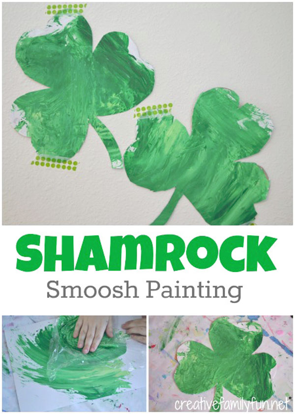 Shamrock Smoosh Painting | Featured in the Best St. Patrick's Day Crafts for Kids Roundup!{OneCreativeMommy.com}