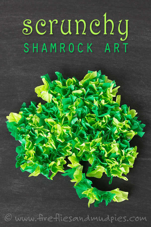 Tissue Paper Shamrock Art | Featured in the Best St. Patrick's Day Crafts for Kids Roundup!{OneCreativeMommy.com}