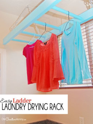 No more wet clothes hanging all over the house! Tame the mess with this easy Ladder Laundry Drying Rack! {OneCreativeMommy.com} Step-by-step tutorial