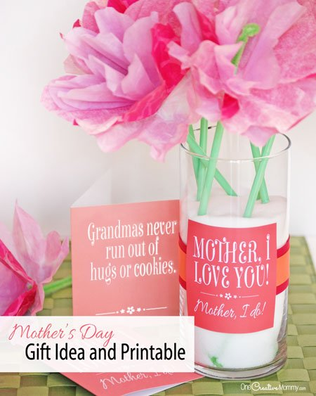 Make Mother's Day simple with this easy Mothers Day Gift Idea and free printable. It's perfect for a card or a bouquet of real or paper flowers.