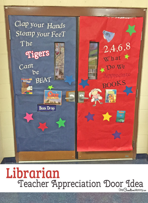 Librarian Door Decorating Idea featured with 21 Teacher Appreciation Door Ideas! {OneCreativeMommy.com} So many great ideas for your teacher!