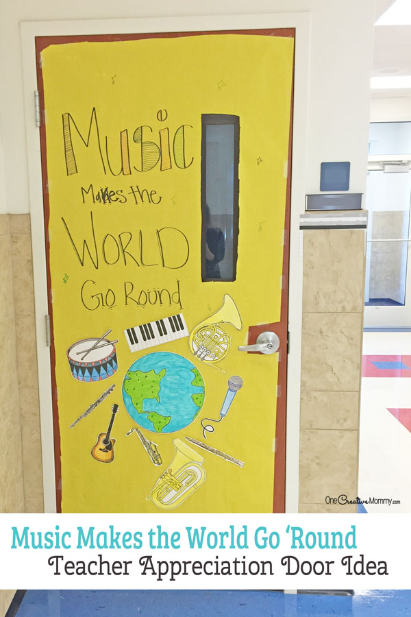 Music Teacher Door Decorating Idea featured with 21 Teacher Appreciation Door Ideas! {OneCreativeMommy.com} So many great ideas for your teacher!