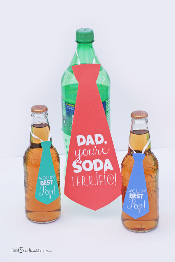 Super cute, quick and easy Father's Day gift idea! Soda Pop Necktie Printables {OneCreativeMommy.com} Great gift idea for Dad
