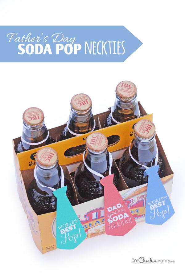Easy Fathers Day Gift Idea Soda Pop Neckties Onecreativemommycom