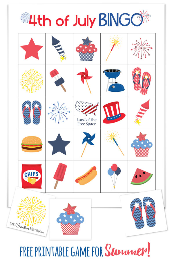 Cool summer game perfect for a 4th of July picnic or family reunion! 4th of July Bingo {OneCreativeMommy.com} Free Printables - 10 Boards and calling cards