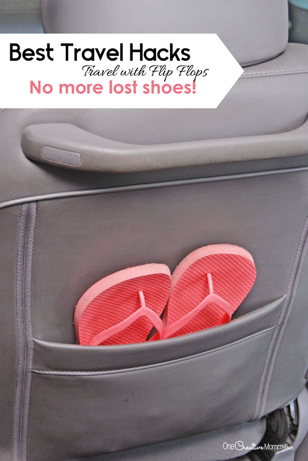 Not only are flip flops easy to slip on and off at rest stops, you won't break the bank replacing shoes that fall out of the car during your trip! {OneCreativeMommy.com} 9 Amazing Travel Hacks for Families