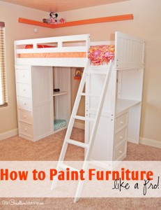 Getting ready to give your furniture a makeover? Check out these tips to learn how to paint furniture like a pro! {OneCreativeMommy.com} Furniture Painting Tips {Dark paint to white}