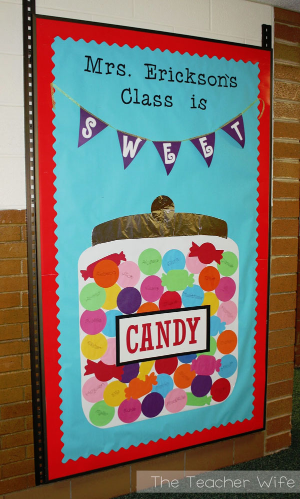 Check out this fun Candy Door Idea featured in the Back to School Bulletin Board Ideas Roundup on OneCreativeMommy.com!