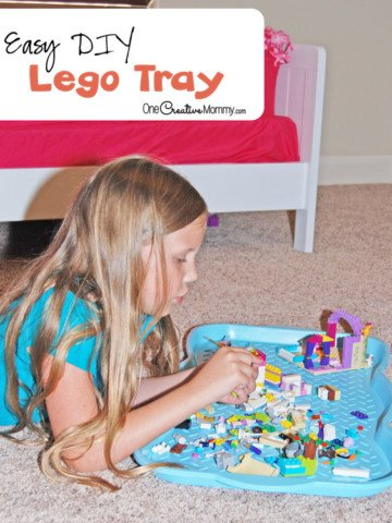 Tame the Lego mess with this simple Lego tray. No more Legos everywhere! {OneCreativeMommy.com}