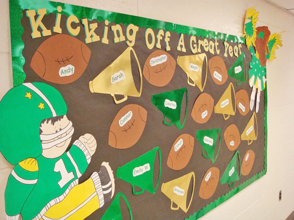Love this football theme idea featured in the Back to School Bulletin Board Ideas Roundup on OneCreativeMommy.com!