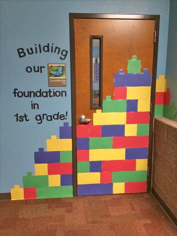 Check out this cool Lego Door Idea featured in the Back to School Bulletin Board Ideas Roundup on OneCreativeMommy.com!