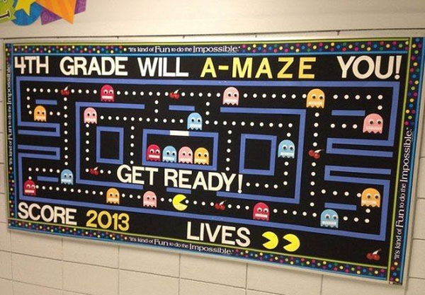 Check out this cool Pac Man idea featured in the Back to School Bulletin Board Ideas Roundup on OneCreativeMommy.com!
