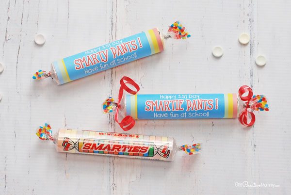 Celebrate the first day of school with these fun Smarty Pants/Smartie Pants printables! {OneCreativeMommy.com} Back to School Printables