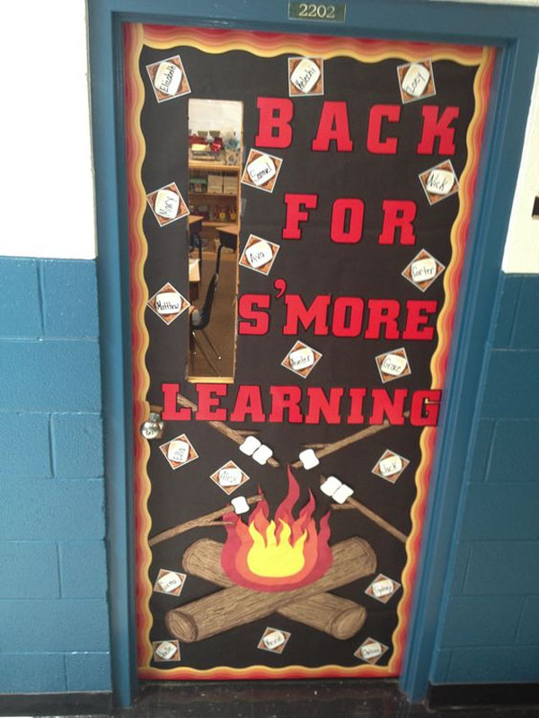 Check out this fun S'Mores Camping Door Idea featured in the Back to School Bulletin Board Ideas Roundup on OneCreativeMommy.com!