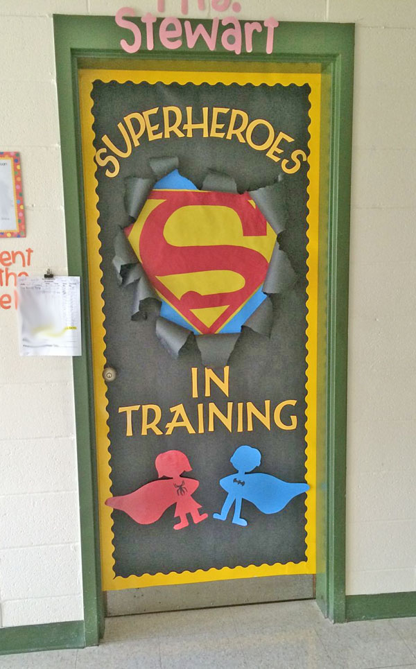 Check out this fun Superhero Door Idea featured in the Back to School Bulletin Board Ideas Roundup on OneCreativeMommy.com!